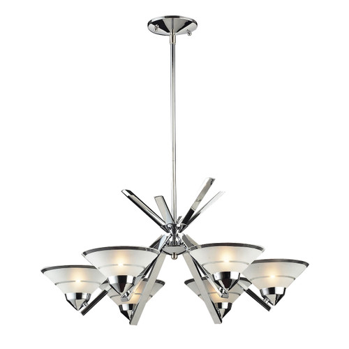 ELK Lighting 1475/6 Refraction 6-Light Chandelier in Polished Chrome with Satin Glass