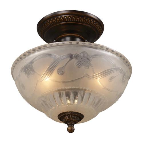 ELK Lighting 08098-AGB Restoration 3-Light Semi Flush in Golden Bronze with Off-white Glass