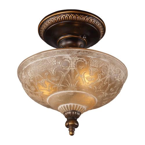 ELK Lighting 08100-AGB Restoration 3-Light Semi Flush in Golden Bronze with Amber Glass