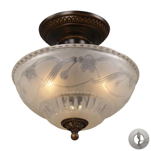 ELK Lighting 08098-AGB-LA Restoration 3-Light Semi Flush in Golden Bronze with Off-white Glass - Includes Adapter Kit