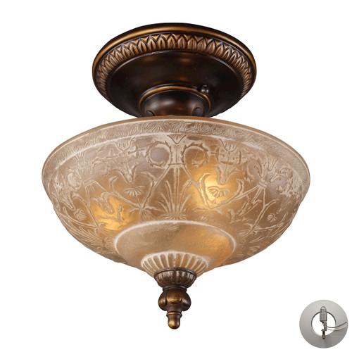 ELK Lighting 08100-AGB-LA Restoration 3-Light Semi Flush in Golden Bronze with Amber Glass - Includes Adapter Kit