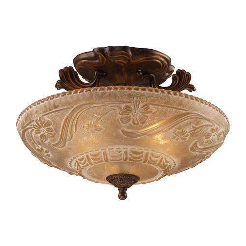 ELK Lighting 08101-AGB Restoration 3-Light Semi Flush in Golden Bronze with Amber Glass