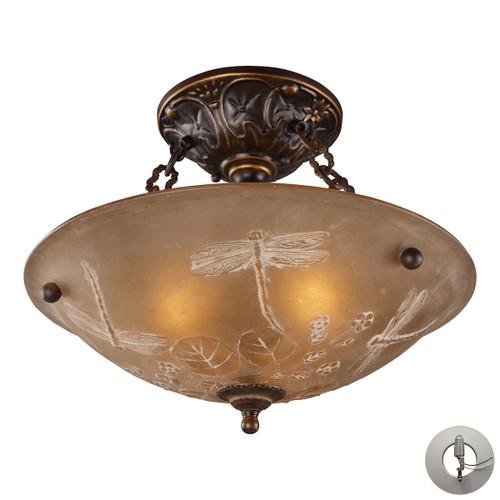 ELK Lighting 08096-AGB-LA Restoration 3-Light Semi Flush in Golden Bronze with Amber Glass - Includes Adapter Kit