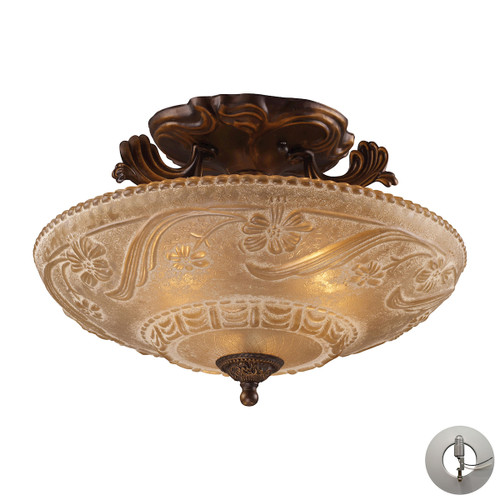ELK Lighting 08101-AGB-LA Restoration 3-Light Semi Flush in Golden Bronze with Amber Glass - Includes Adapter Kit