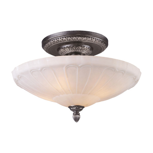ELK Lighting 66093-4 Restoration 4-Light Semi Flush in Dark Silver with White Antique Glass
