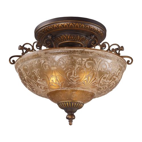 ELK Lighting 08099-AGB Restoration 3-Light Semi Flush in Golden Bronze with Amber Glass