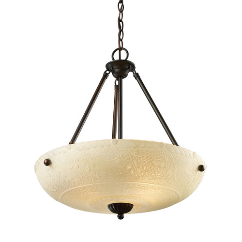 ELK Lighting 66322-4 Norwich 4-Light Pendant in Aged Bronze with Amber Glass