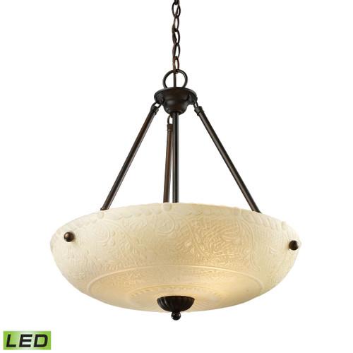 ELK Lighting 66322-4-LED Restoration 4-Light Pendant in Aged Bronze with White Glass - Includes LED Bulbs