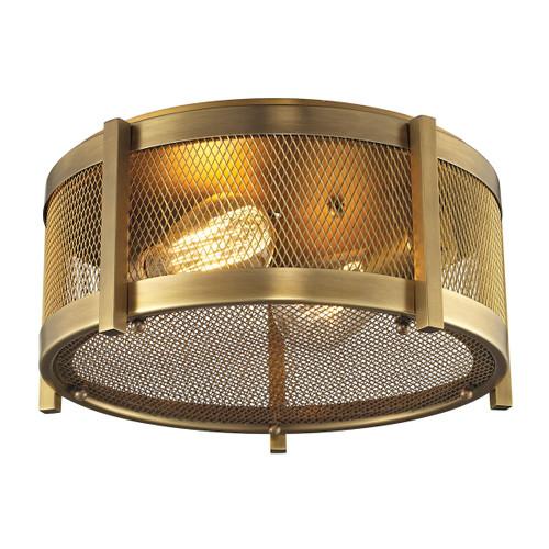 ELK Lighting 31481/2 Rialto 2-Light Flush Mount in Aged Brass with Mesh Metal Shade