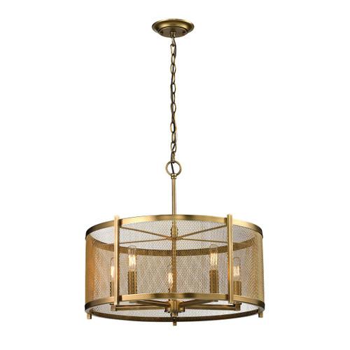 ELK Lighting 31483/5 Rialto 5-Light Chandelier in Aged Brass with Mesh Metal Shade