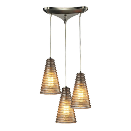 ELK Lighting 10333/3 Ribbed Glass 3-Light Triangular Pendant Fixture in Satin Nickel with Amber Ribbed Glass