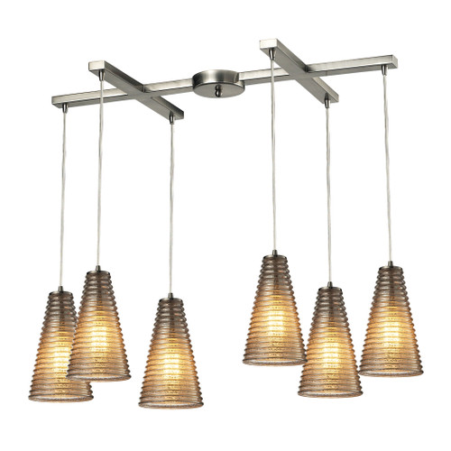 ELK Lighting 10333/6 Ribbed Glass 6-Light H-Bar Pendant Fixture in Satin Nickel with Amber Ribbed Glass