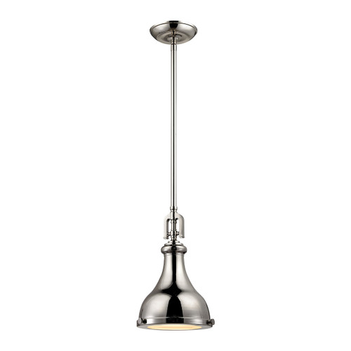 ELK Lighting 57030/1 Rutherford 1-Light Mini Pendant in Polished Nickel with Metal Shade