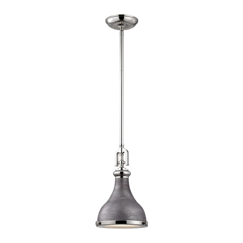 ELK Lighting 57080/1 Rutherford 1-Light Mini Pendant in Polished Nickel and Weathered Zinc with Metal Shade