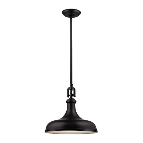 ELK Lighting 57061/1 Rutherford 1-Light Pendant in Oil Rubbed Bronze with Metal Shade