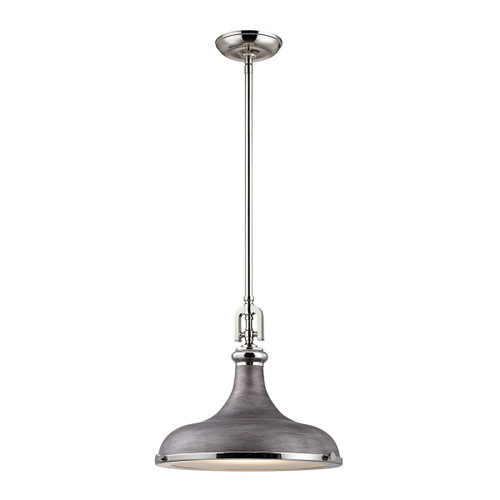 ELK Lighting 57081/1 Rutherford 1-Light Pendant in Polished Nickel and Weathered Zinc with Metal Shade