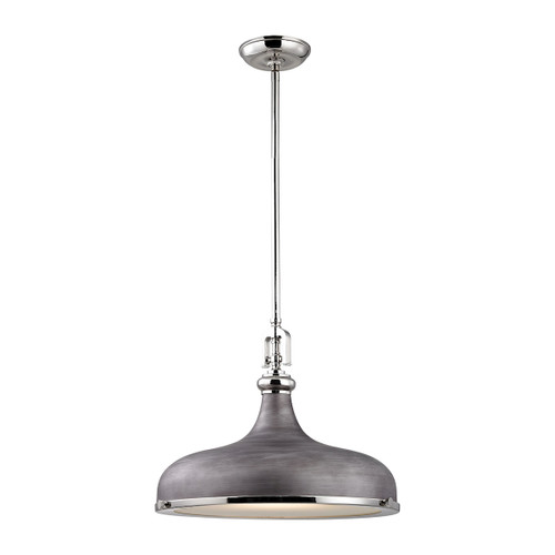 ELK Lighting 57082/1 Rutherford 1-Light Pendant in Polished Nickel and Weathered Zinc with Metal Shade
