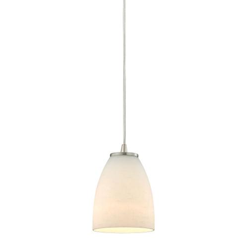 ELK Lighting 10466/1 Sandstorm 1-Light Mini Pendant in Satin Nickel with Off-white Glass