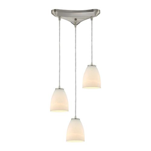 ELK Lighting 10466/3 Sandstorm 3-Light Triangular Pendant Fixture in Satin Nickel with Off-white Glass