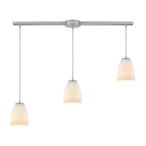 ELK Lighting 10466/3L Sandstorm 3-Light Linear Pendant Fixture in Satin Nickel with Off-white Glass