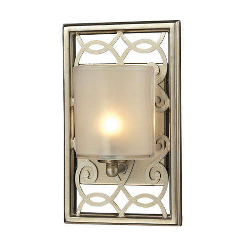 ELK Lighting 31426/1 Santa Monica 1-Light Vanity Sconce in Aged Silver with Off-white Glass