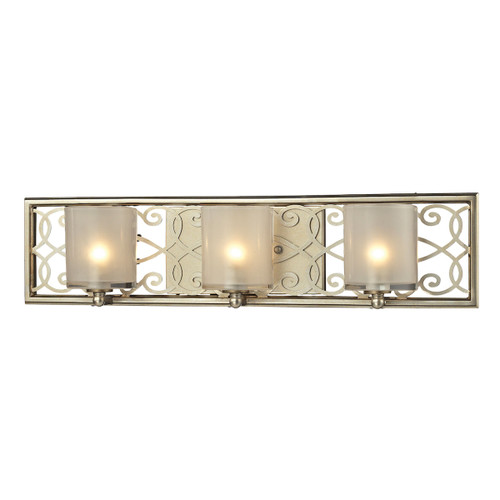 ELK Lighting 31428/3 Santa Monica 3-Light Vanity Sconce in Aged Silver with Off-white Glass