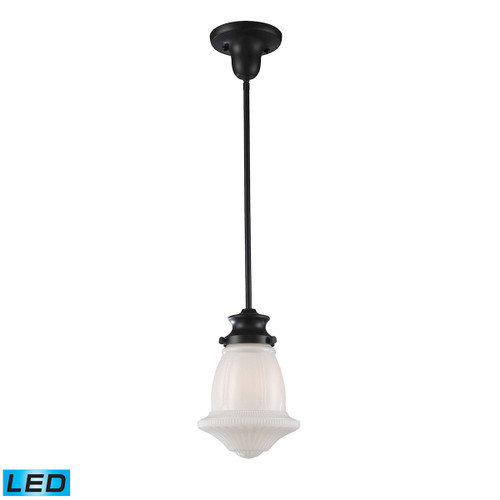 ELK Lighting 69039-1-LED Schoolhouse 1-Light Mini Pendant in Oiled Bronze with White Glass - Includes LED Bulb