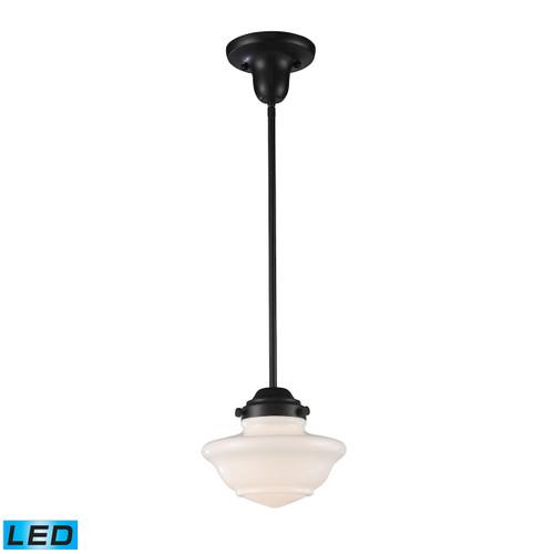 ELK Lighting 69052-1-LED Schoolhouse 1-Light Mini Pendant in Oiled Bronze with White Glass - Includes LED Bulb
