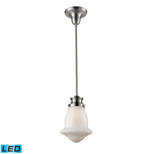 ELK Lighting 69029-1-LED Schoolhouse 1-Light Mini Pendant in Satin Nickel with White Glass - Includes LED Bulb