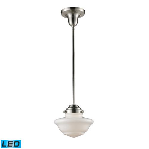 ELK Lighting 69042-1-LED Schoolhouse 1-Light Mini Pendant in Satin Nickel with White Glass - Includes LED Bulb