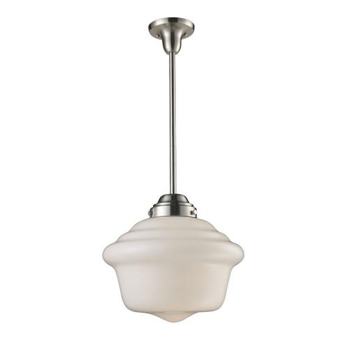 ELK Lighting 69040-1 Schoolhouse 1-Light Pendant in Satin Nickel with White Glass