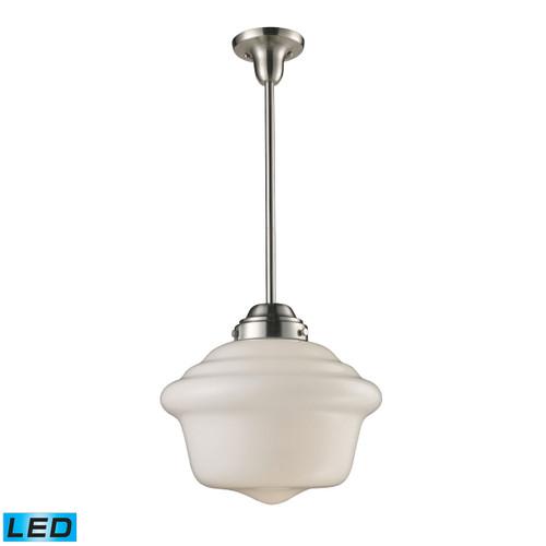 ELK Lighting 69040-1-LED Schoolhouse 1-Light Pendant in Satin Nickel with White Glass - Includes LED Bulb