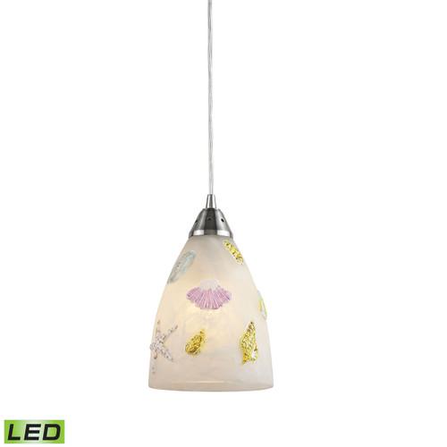 ELK Lighting 20000/1-LED Seashore 1-Light Mini Pendant in Satin Nickel with Painted Seashore Motif - Includes LED Bulb