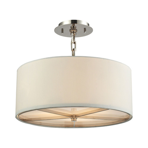 ELK Lighting 31650/3 Selma 3-Light Pendant in Polished Nickel with White Fabric Shade