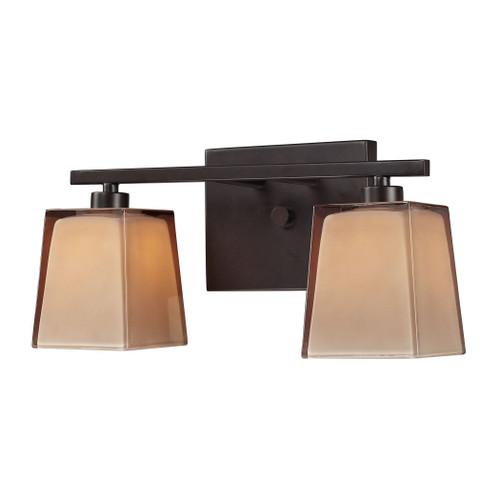 ELK Lighting 11437/2 Serenity 2-Light Vanity Lamp in Oiled Bronze with Amber Glass