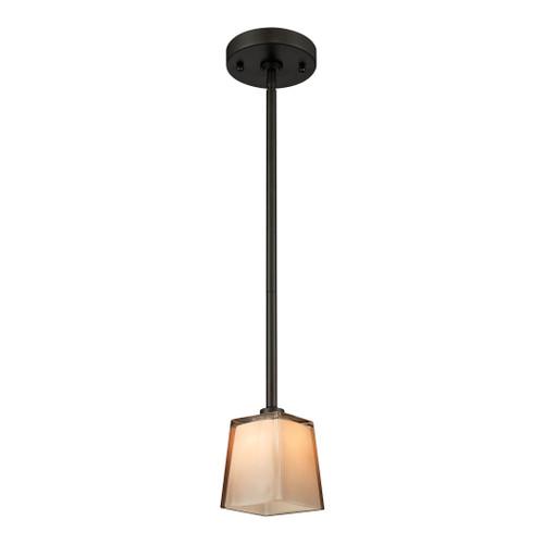 ELK Lighting 11479/1 Serenity 1-Light Mini Pendant in Oil Rubbed Bronze with Tan Glass