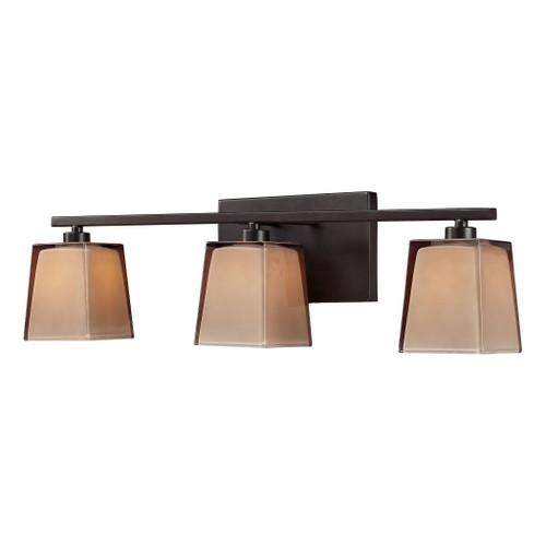 ELK Lighting 11438/3 Serenity 3-Light Vanity Lamp in Oiled Bronze with Amber Glass