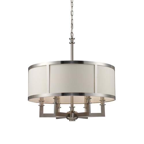 ELK Lighting 20154/6 Seven Springs 6-Light Chandelier in Satin Nickel with White Fabric Shade