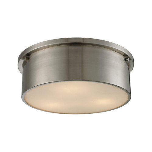ELK Lighting 11821/3 Simpson 3-Light Flush Mount in Brushed Nickel with Frosted White Diffuser