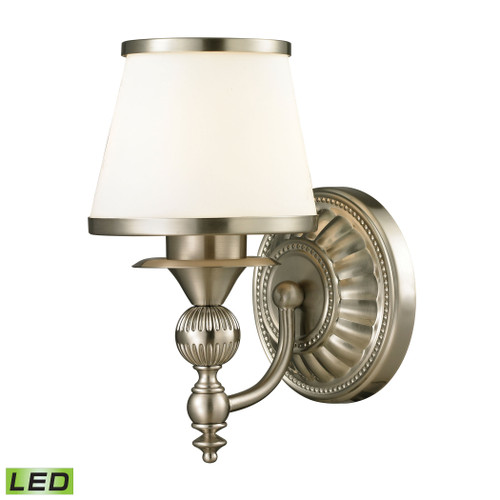 ELK Lighting 11600/1-LED Smithfield 1-Light Vanity Lamp in Brushed Nickel with Opal White Blown Glass - Includes LED Bulb