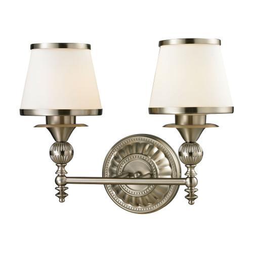 ELK Lighting 11601/2 Smithfield 2-Light Vanity Lamp in Brushed Nickel with Opal White Blown Glass