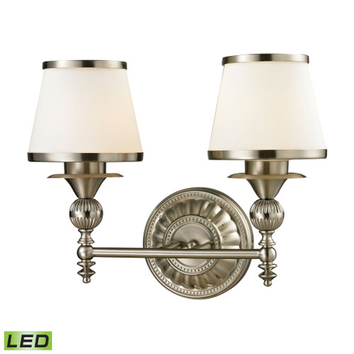 ELK Lighting 11601/2-LED Smithfield 2-Light Vanity Lamp in Brushed Nickel with Opal White Blown Glass - Includes LED Bulbs