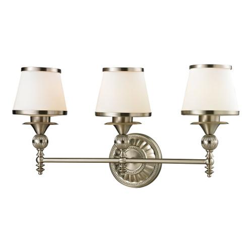 ELK Lighting 11602/3 Smithfield 3-Light Vanity Lamp in Brushed Nickel with Opal White Blown Glass