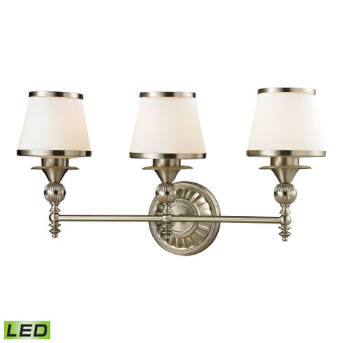 ELK Lighting 11602/3-LED Smithfield 3-Light Vanity Lamp in Brushed Nickel with Opal White Blown Glass - Includes LED Bulbs