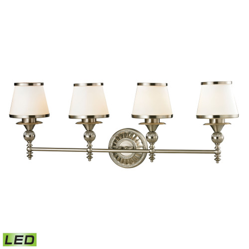 ELK Lighting 11603/4-LED Smithfield 4-Light Vanity Lamp in Brushed Nickel with Opal White Blown Glass - Includes LED Bulbs