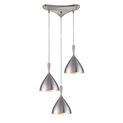 ELK Lighting 17042/3ALM Spun Aluminum 3-Light Triangular Pendant Fixture in Aluminum with Matching Shade
