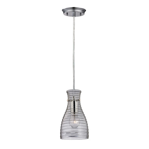 ELK Lighting 46107/1 Strata 1-Light Mini Pendant in Polished Chrome with Ribbed Blown Glass