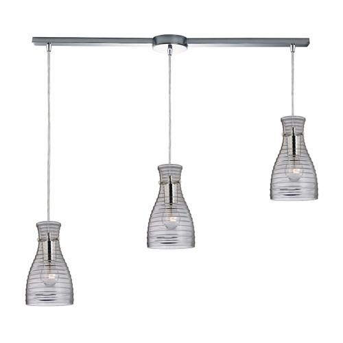 ELK Lighting 46107/3L Strata 3-Light Linear Pendant Fixture in Polished Chrome with Ribbed Blown Glass