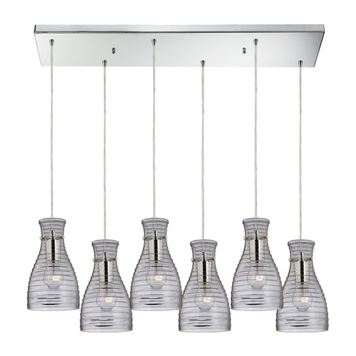 ELK Lighting 46107/6RC Strata 6-Light Rectangular Pendant Fixture in Polished Chrome with Ribbed Blown Glass