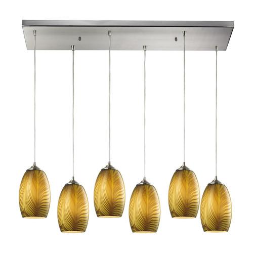 ELK Lighting 31630/6RC Tidewaters 6-Light Rectangular Pendant Fixture in Satin Nickel with Amber Glass